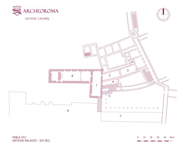 Vatican palaces in the 13th century: Cappella Magna (the today Sistine Chapel)